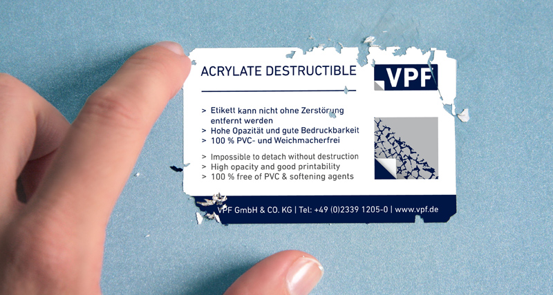 VPF acrylate destructible